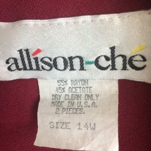 Allison-che Jackets & Coats - Allison-Che Cropped Jacket Size 14W Wine And Black